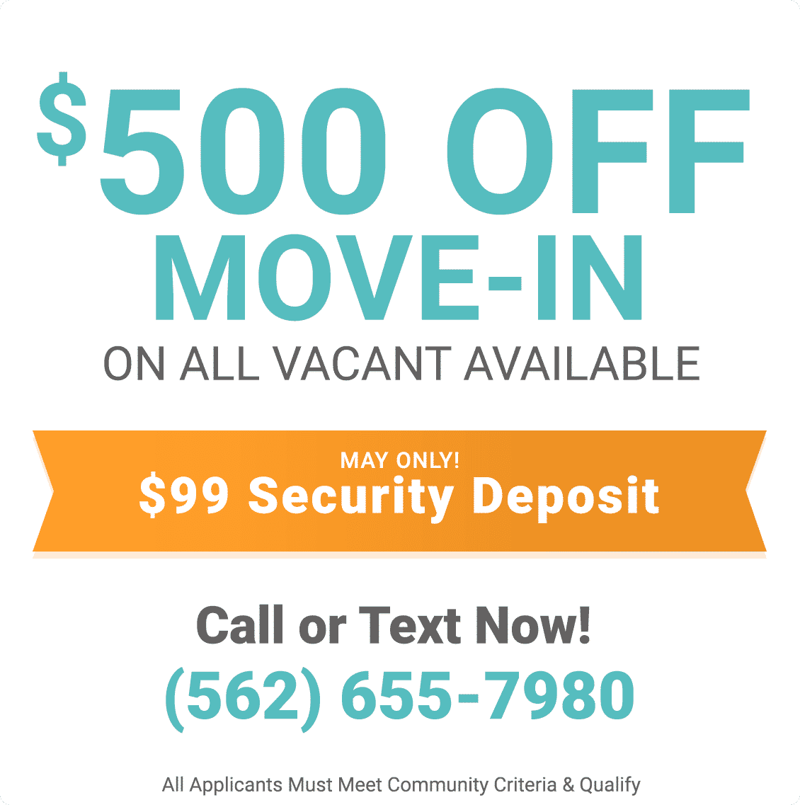 $500 off move-in on all vacant available